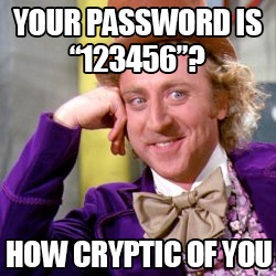 Your password is 123456? How cryptic of you.